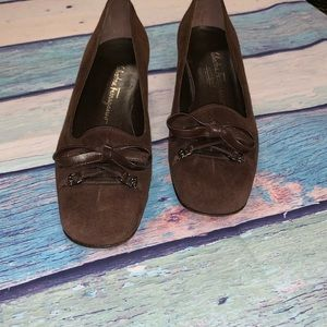 Chocolate brown Feragammo loafers